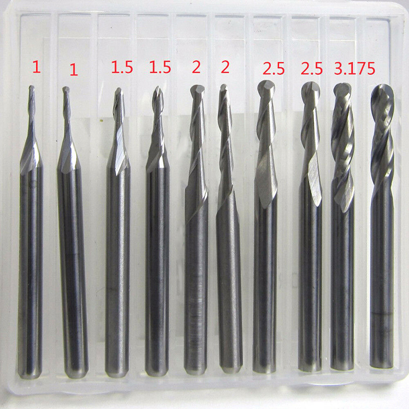 10pcs Set Ball Nose End Mills 3.175mm Engravings CNC Carbide Routers Bit Tools