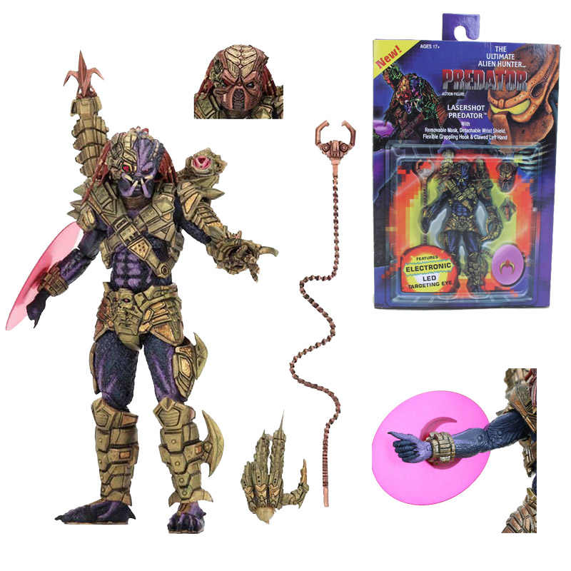 18 Cm Neca Predator Ultimate Alien Hunter dengan LED Trageting Mata PVC Action Figure Collectible Model Mainan