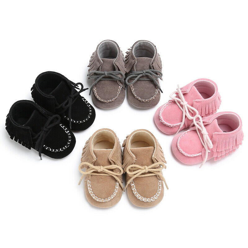 2019 Infant Baby Toddle Baby Girls Shoes PU Leather Tassel Soft Bottom Crib Anti-slip Autumn Spring Shoes