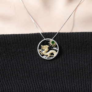 Image 2 - GEMS BALLET Natural Chrome Diopside Chinese Zodiac Jewelry 925 Sterling Silver Handmade Flying Dragon Pendant Necklace ForWomen