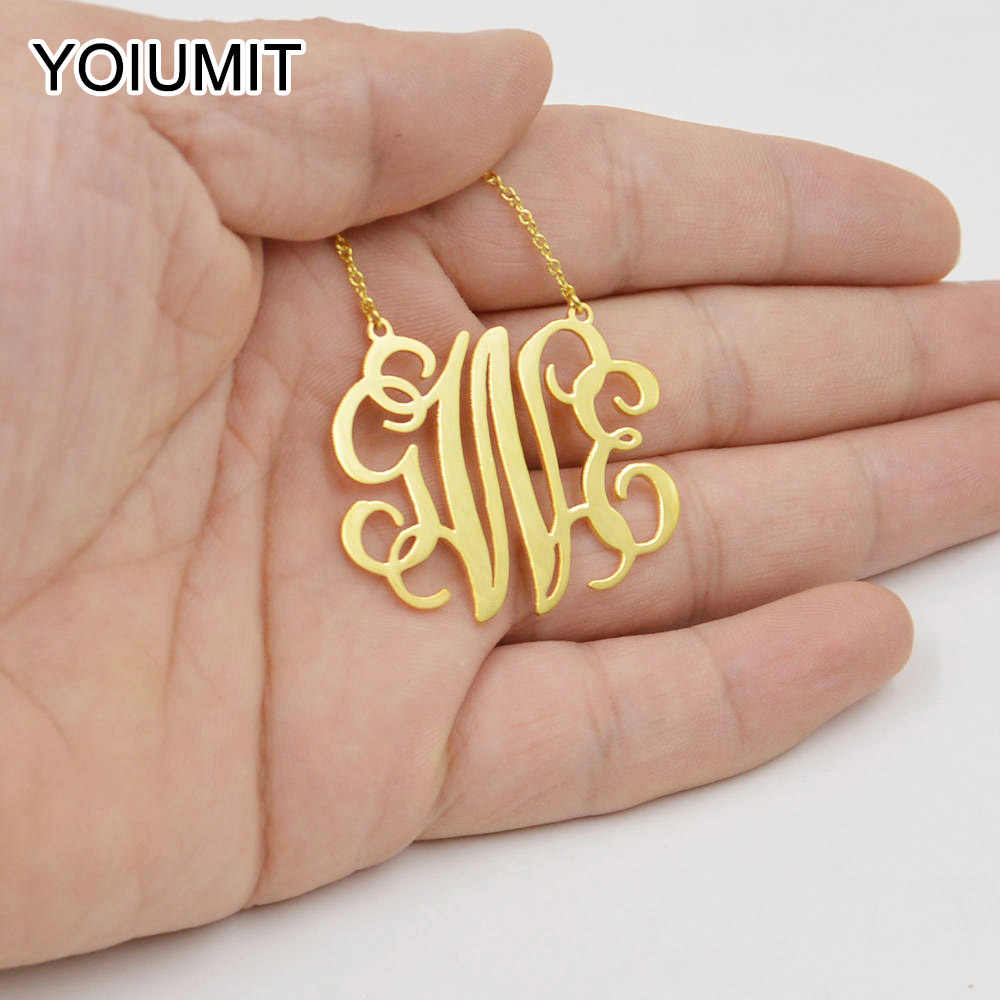 Yoiumit Stainless Steel Necklace Personalized Letter Necklace For Women Bijoux Custom Initials Necklace Pendant Girl Jewelry