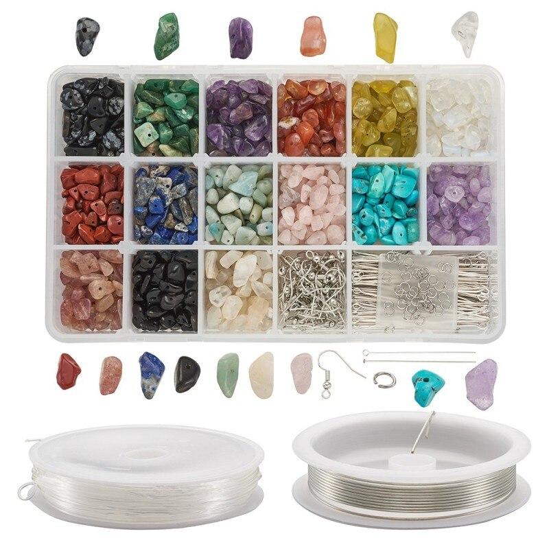 1 ensemble de perles en pierres précieuses naturelles et synthétiques avec fil de cuivre, résultats de fabrication de bijoux, bricolage fabrication de Bracelets à boucles doreilles et de colliers, F50