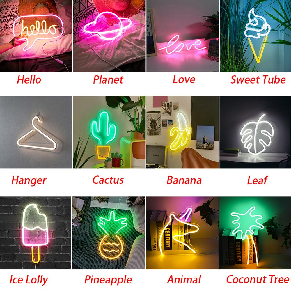 LED Neon Lights Wall Hanging Room Birthday Led Neon Light Art Decorative For Party Bar Decor Neon Signs Colorful LED Neon Lamp