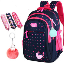 Hot Sale Girls School Bags Cute Bow-knot For Children Backpack Large Capacity Elementary School Bag Stars Print Mochila Escolar