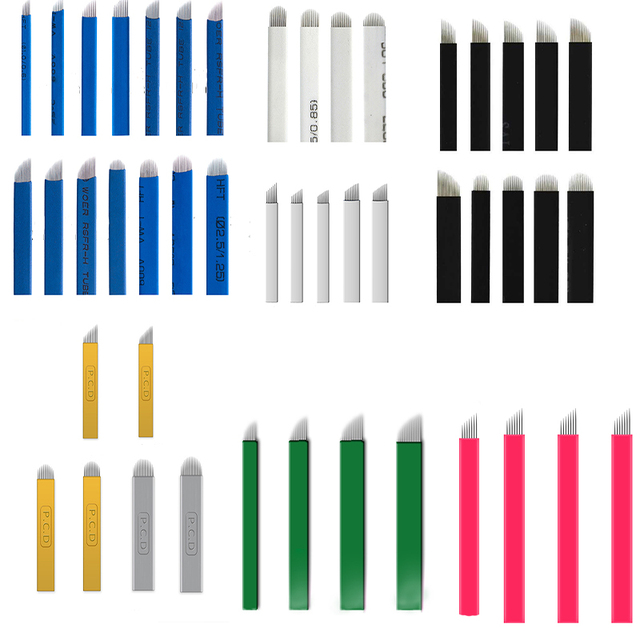100pcs Microblading Needles 0.18mm multiple choice colorful pcd  Nano LAMINA MICRO  flex Blade For Tebori Manual Tattoo Pen