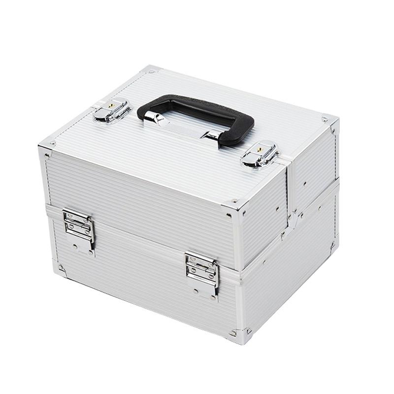 Portable Cosmetic Case Aluminium Alloy Profession Makeup Beauty Toolbox Makeup Manicure Toolbox Cosmetics Case