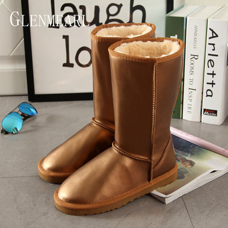 Genuine Leather Mid Calf Women Boots Winter Warm Snow Boots Women Shoes Waterproof Fur Female Shoes Casual Shoes 2019 DE