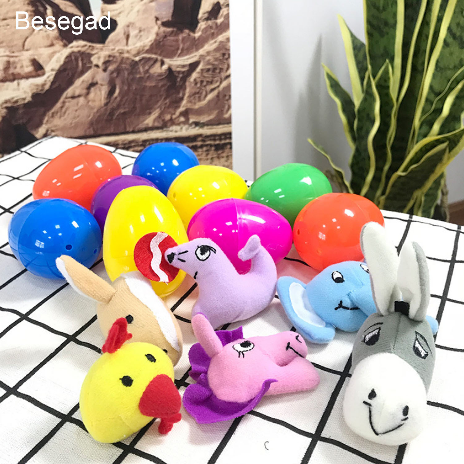 Besegad 12pcs Kids Plastic Colored Surprise Easter Eggs Filled With Different Kawaii Doll Easter Egg Toys For Easter Gifts