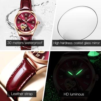 New Luxury Women Watches Automatic Mechanical Leather Wrist Watch Rhinestone Ladies Fashion Bracelet Set Gift Top Brand часы 3