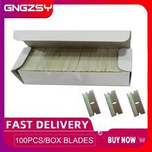 "CNGZSY 100PCS פחמן פלדה תער להבי 1.5 ""אחד קצוות טיפ עבור רכב דבק מגרד קרמיקה תנור זכוכית נקי שובל E13"