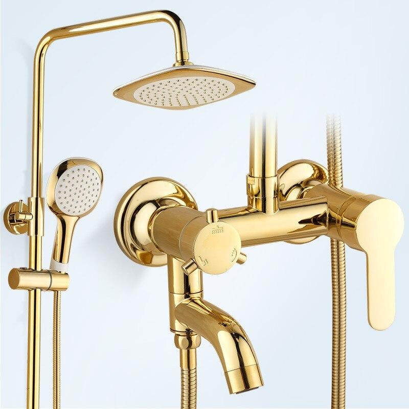 Système de douche de salle de bains en or de luxe ensemble de douche de salle de bain en laiton plaqué ensemble de tête de douche ronde fixée au mur