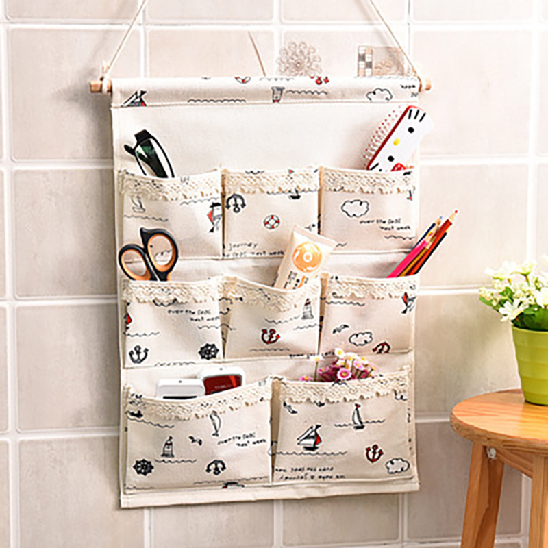 3/6/8 Pockets Hanging Storage Bag Cotton And Linen Wall-mounted Storage Bag With Hook Bath Bedroom Door Organizer Sundries Pouch
