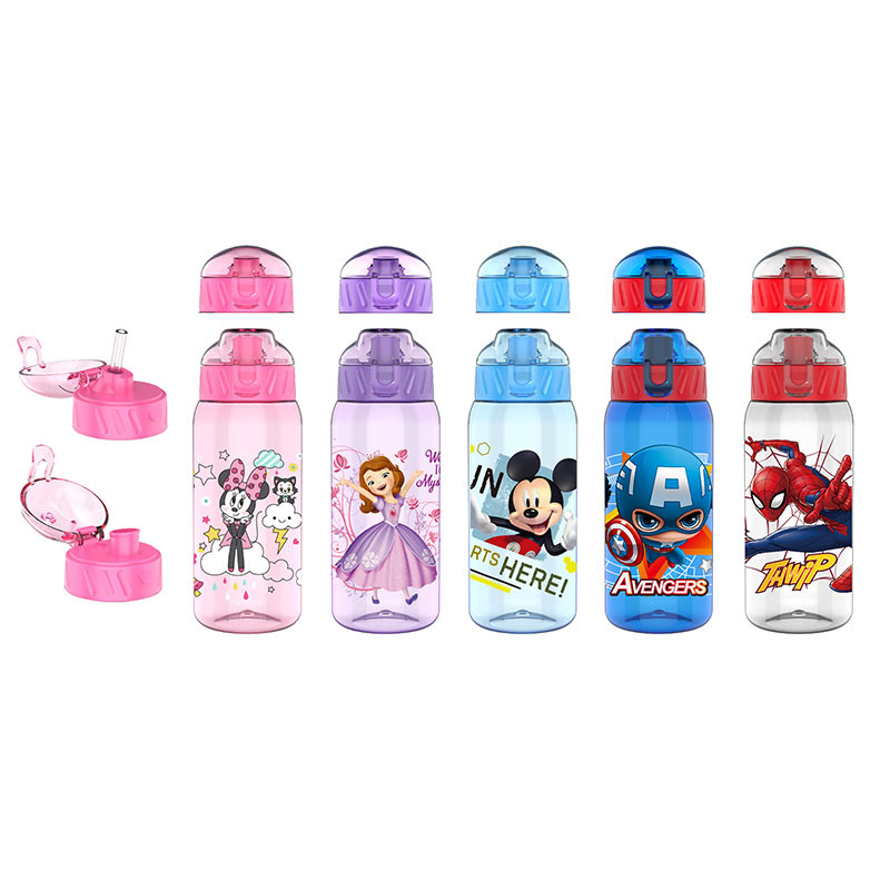 Disney Cartoon Mickey Mouse  Plastic Cup Straw Cup +Straight Drink Cup Students Princess  Baby Water Bottle  For Kids Gift