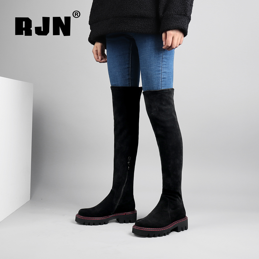 Buy RJN Comfortable Knee High Boots Back Striped Decoration Kid Suede Round Toe Square Heel Shoes Zip Winter Women Long Boots R18