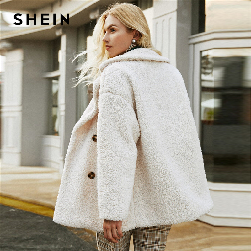 SHEIN Beige Double Button Pocket Teddy Coat Women Winter Long Sleeve Solid Lapel Collar Drop Shoulder Casual Outwear Coats 2