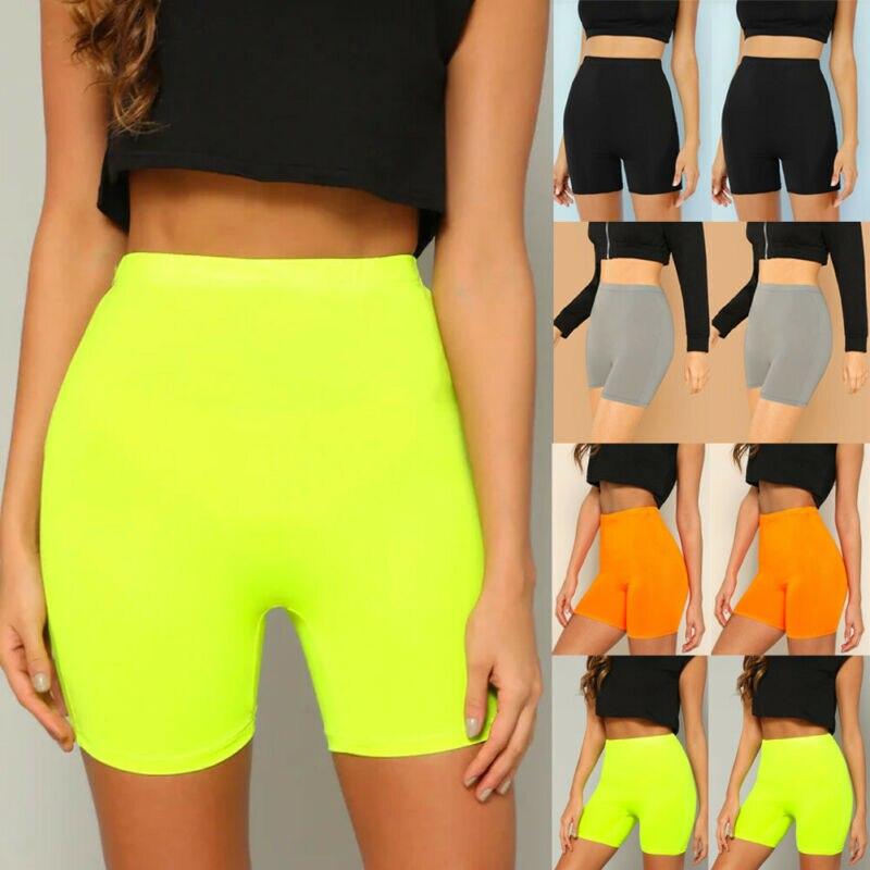 2020 Fashion Women Shorts Solid Black Pink Yellow Shorts Lady Running Exercise Shorts For Women High Waist Seamless Shorts