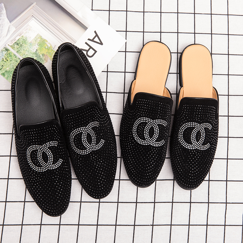 Summer Autumn Casual Sneakers Man Fashion Half Drag Loafers Shoes Designer Young Casual Men Shoes Non-Slip Half Slippers Men