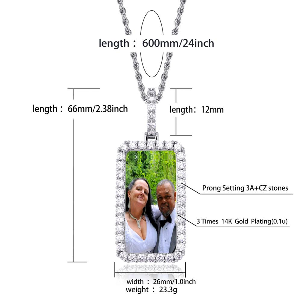 Image 3 - TOPGRILLZ Custom Made Photo Square Medallions Necklace & Pendant With 4mm Tennis Chain Gold Silver Zircon Mens Hip hop Jewelry    -