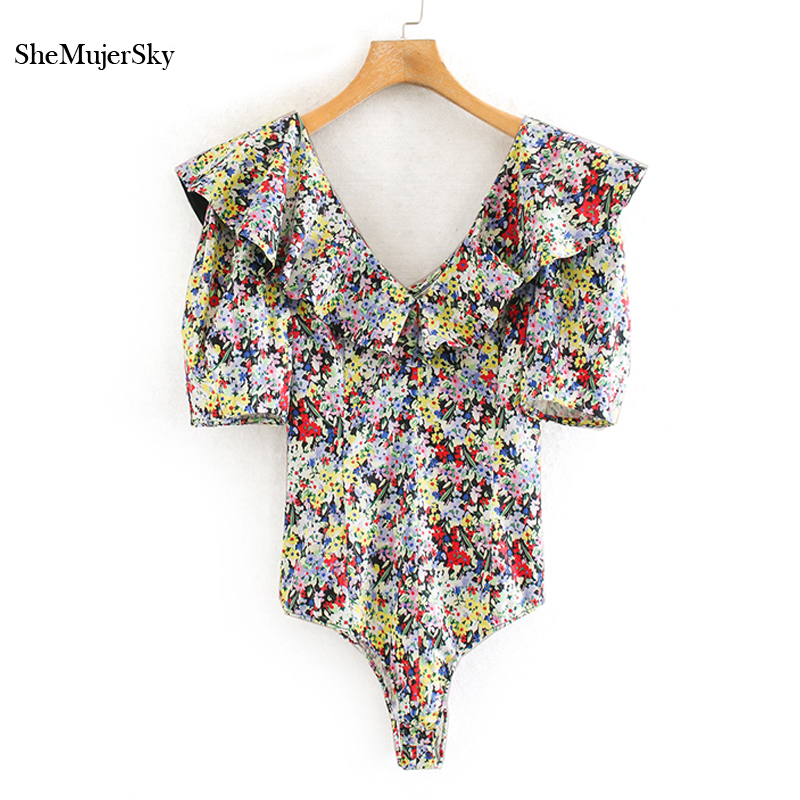 SheMujerSky Summer Women Bodysuit Ruffles V-neck Short Sleeve Jumpsuit 2020 Colorful Floral Print Elegant Bodysuits