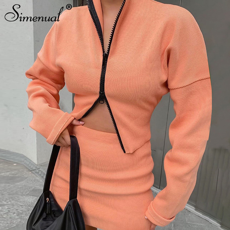 Simenual Ribbed Knitted Zipper Fashion Women Matching Sets Long Sleeve Bodycon Autumn Winter 2020 Top And Skirts 2 Piece Outfits