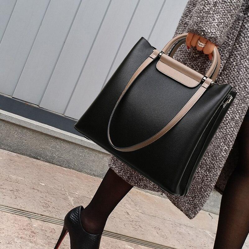 NEW Big Bag 2019 Fashion Women Leather Handbag Brief Shoulder Bag Black Large Capacity Luxury Tote Shopper Bag Designer