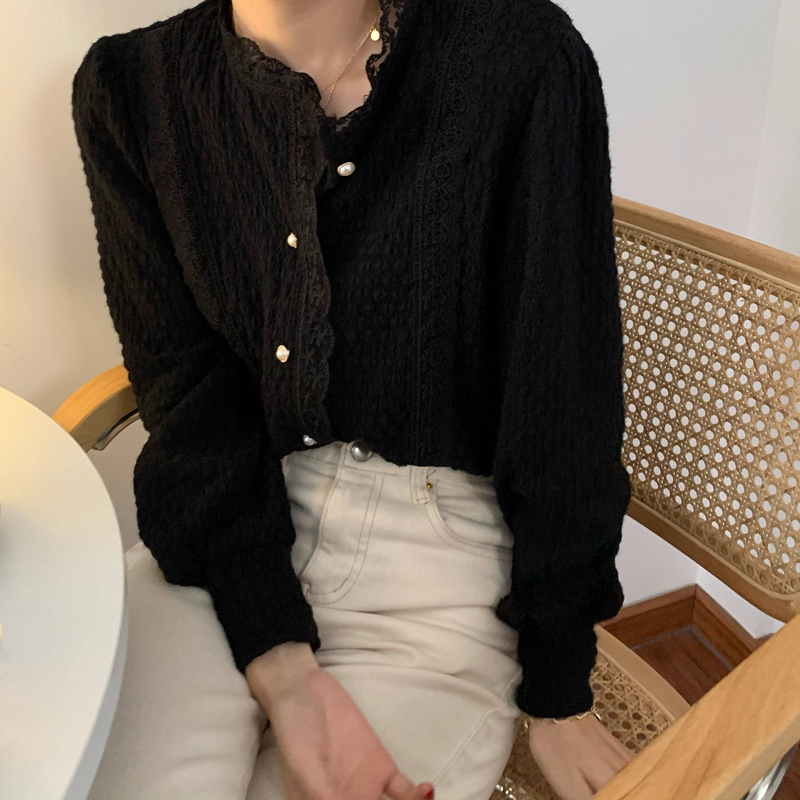 H490f13cbab9248b1b0f70c3c17cdef83m - Spring / Autumn O-Neck Long Sleeves Lace Buttons Blouse