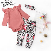 ZAFILLE 3Pcs Baby Girls Clothes Long Sleeve Romper+Leopard Pants+Headband Infant Toddler Outfits Girls Suits Kids Clothes Set цена 2017