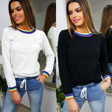 2019 New Arrivals Casual Rainbow Sriped Printed Long Sleeve Women Sweatershirts Clothing Fall Tops Shirt