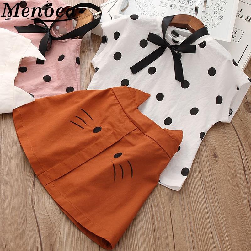 Menoea Girls Summer Clothes 2020 Clothing Sets Cartoon Printed T-shirt Short 2Pcs Suits Kids 3-7Y Sleeveless Baby Clothes