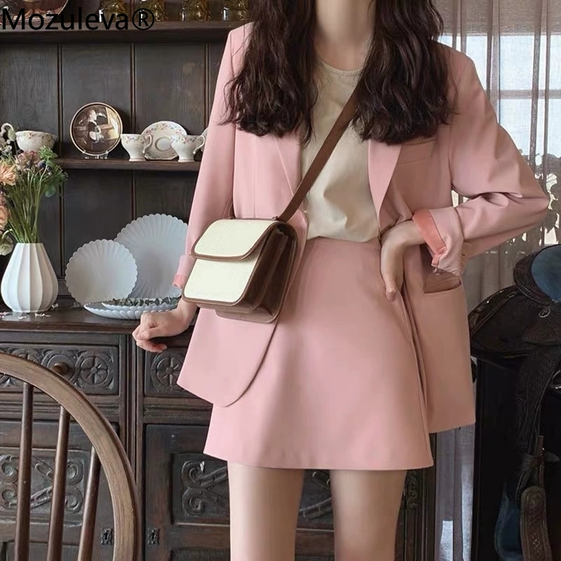 Mozuleva 2021 Spring Ladies Skirt Suits Women Single-breasted Jacket & Pencil Skirt Suits Business 2 Pieces Sets Office Uniform