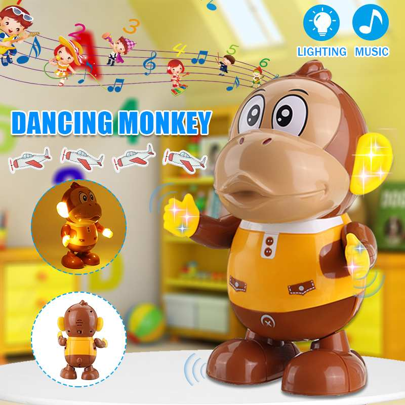 Electric Robot Monkey Toys Fun Dancing Street Dance Electric Musical Toy LED Light Music Dancing AnimalsToy For Children Gifts