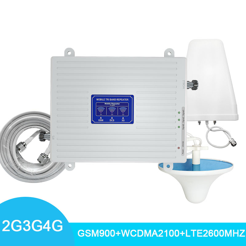 4G Cellular Signal Amplifier LCD Display Tri Band GSM900/WCDMA2100/LTE2600mhz Signal Repeater 70dB Cell Phone Signal Booster