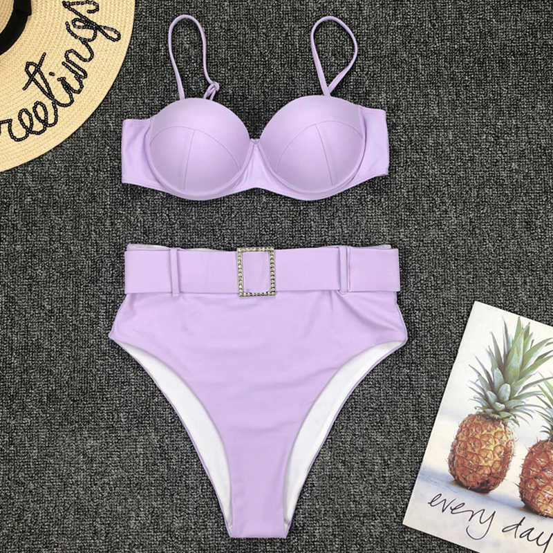 In-X 2020 Sexy push up bikini taille haute maillot de bain femme ceinture maillots de bain femmes strass bikini ensemble maillot de bain maillot de bain baigneurs