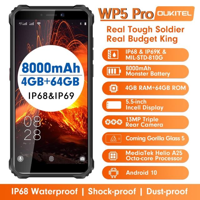 Oukitel wp5 pro ip68 à prova dip68 água smartphone 8000mah android 10 triplo rosto da câmera/impressão digital id 5.5 polegadas 4gb 64gb telefone móvel 3