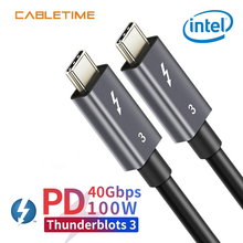 Cabletime Thunderblots 3 USB 3.1 Type C Cable To 100W PD Fast Charging Type-C For Samsung S10 Xiaomi N209