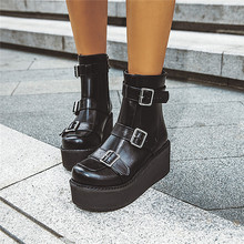 2019 Autumn Brown Black Goth Platform Boots Women Buckle Strap Wedges Shoes Gothic Punk Creepers Ankle Boot Big Size 43