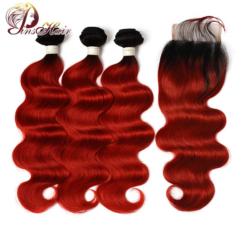 Peruvian Human Hair Bundles With Closure Body Wave 3 Bundles With Closure T1B/Red Ombre Pinshair Nonremy Pre Plucked Hairline