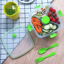 Salad Lunch Box Container Bowl Bento Tray for Toppings and Snacks Dressings Built-In Reusable BPA-Free 1.2L