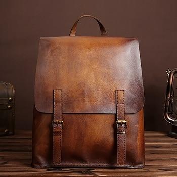 LJL-BAOERSEN Leather Men Backpack Vintage School Rucksack First Layer Cowhide Casual Daypack Male Travel Knapsack New