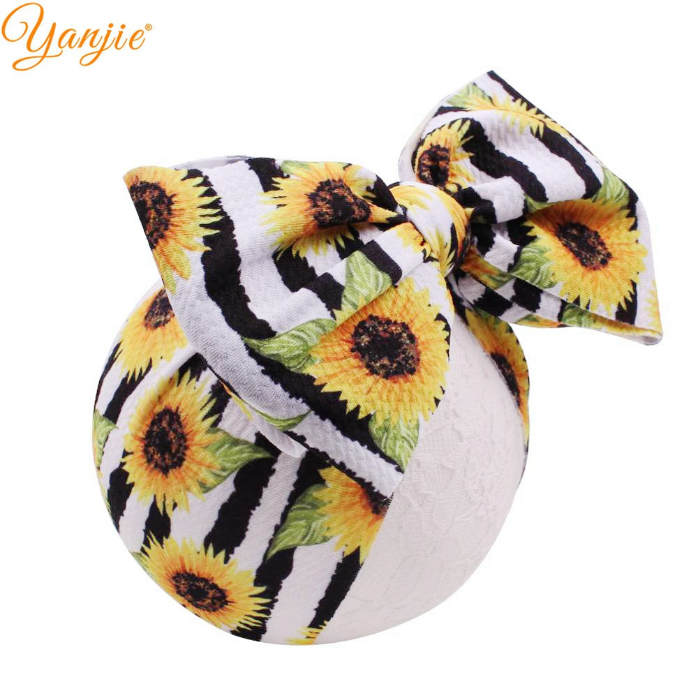 7'' Large Knot Hair Bows Donut Headband Girls 2019 Sunflower Big Bow Halloween Hair Bands Turban Kids Headwrap Hair Accessories