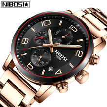 цена на NIBOSI New Fashion Mens Watches Top Brand Luxury Big Dial Auto-Date Quartz Watch Men Sport Business Men Watch Relogio Masculino
