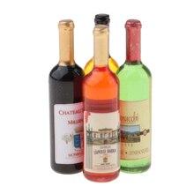 4x Dollhouse Wine Bottles for Life Scene Ornament Pub Bar Decor Accessory