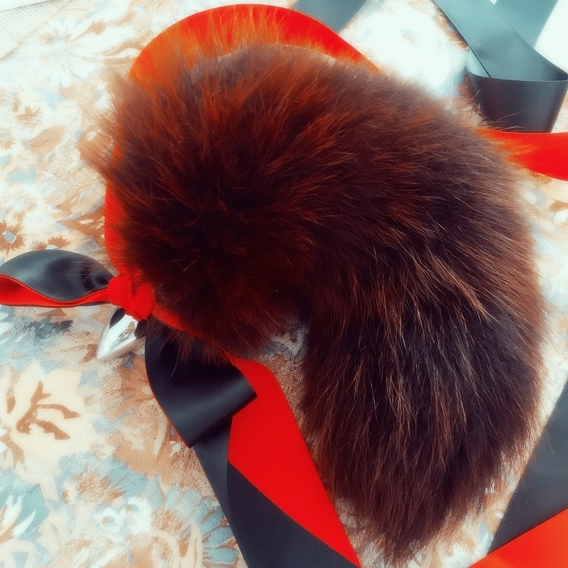 Real Orange Fox Tail Anal Plug Metal Butt Plug Animal Cosplay Tail Erotic Sex Toy For Couple Adult Games Sex Shop