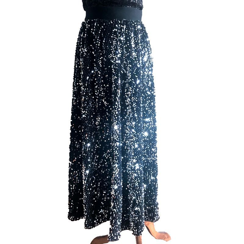 2018 Autumn And Winter New Style Europe And America Gold Velvet Sequin Skirt Elastic High-waisted Long Skirts Big Hemline A- Lin