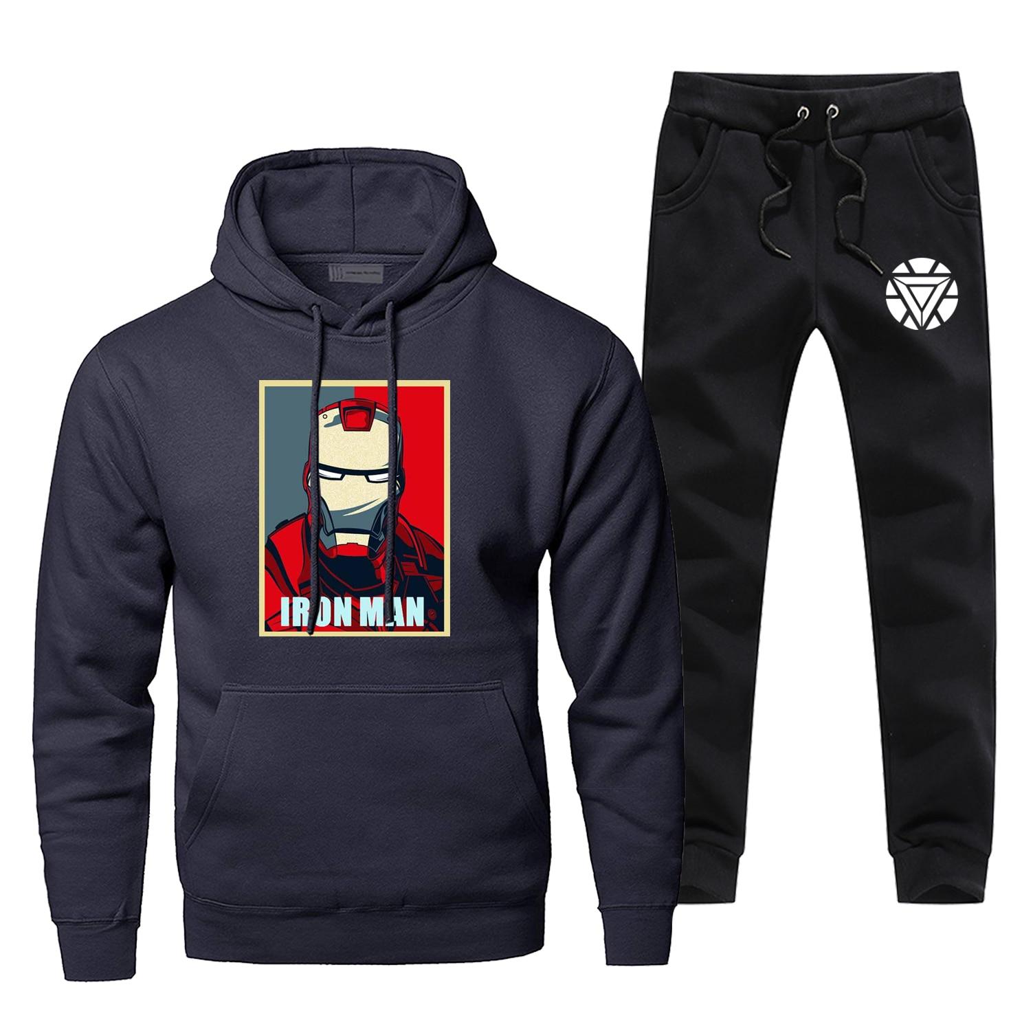 Marvel Avengers Hoodie SuperHero Iron Man Tony Stark Sweatshirts Panst Sets Men Casual Streetwear Fleece Sportswear Sweatpants
