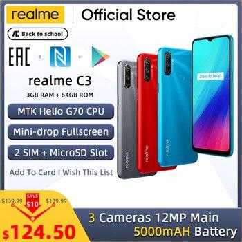Перейти на Алиэкспресс и купить Realme C3 5000 мАч аккумулятор мобильный телефон 3 Гб RAM 32 Гб 64 Гб ROM Helio G70 процессор 12MP AI двойная камера HD мини-капля полноэкранный NFC