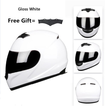 цена на Motorbike Full Face DOT Helmet - BYE-616 Racing Motorcycle Helmet with removed neckerchief - White, XL