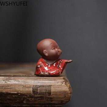 1 PCS Handmade Purple Clay Lovely Buddha Monk  Figurine Ornament Fingertip Tea Play tea Pets Boutique Table Crafts