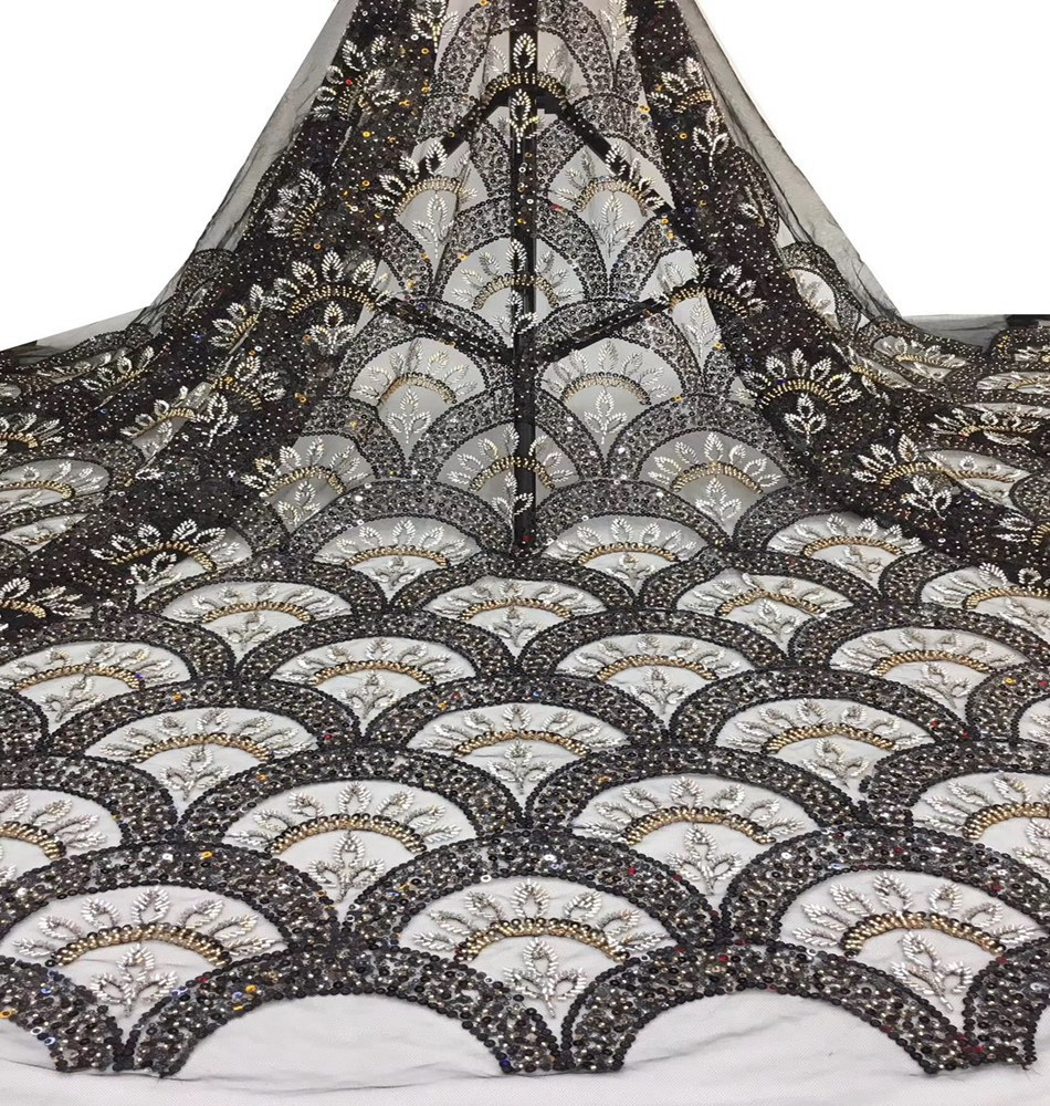 Gorgeous African Sequins Lace Fabric High Quality 2020 New French Beaded Lace Fabric For Wedding/party/evening Dress Show TS9148