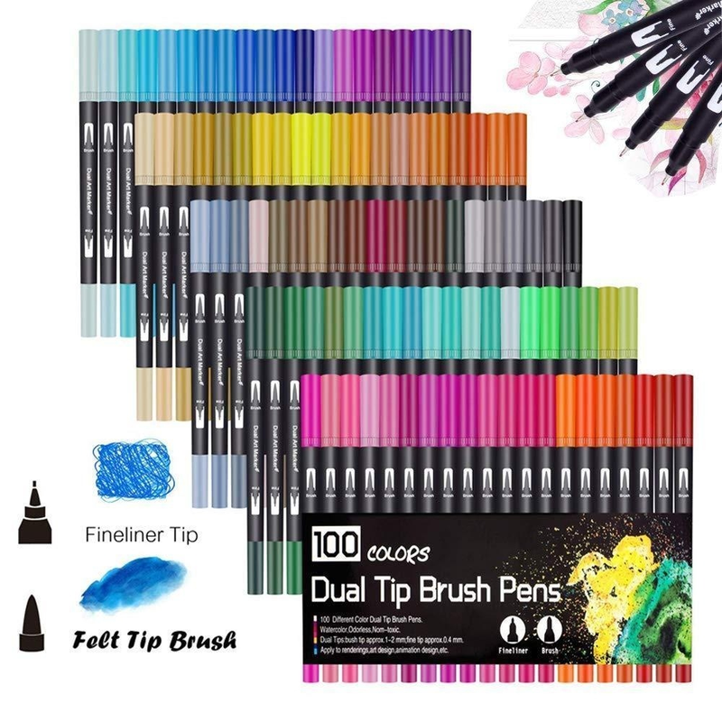 100 Colors Art Markers Dual Tips Coloring Brush Fineliner Color Pens Water Marker Calligraphy Drawing Sketching Coloring Book